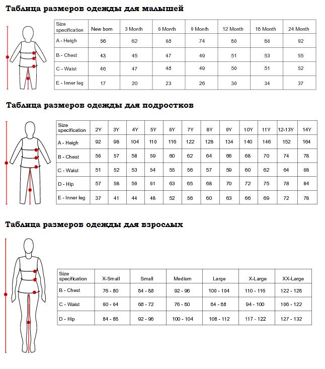 фото таблицы размеров детской одежды Ticket to heaven